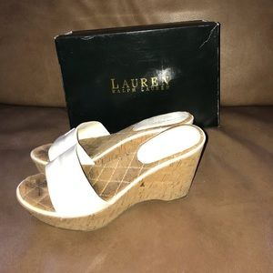 ****Only $10**** Ralph Lauren white patent wedges